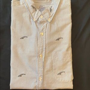 JCrew shortsleeve oxford with embroidered whales